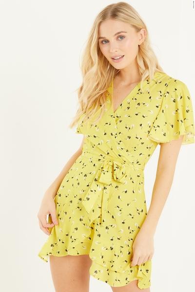 Yellow Floral Chiffon Wrap Dress
